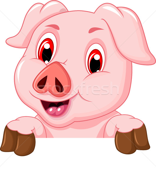 funny pig cartoon with blank board Stock photo © jawa123