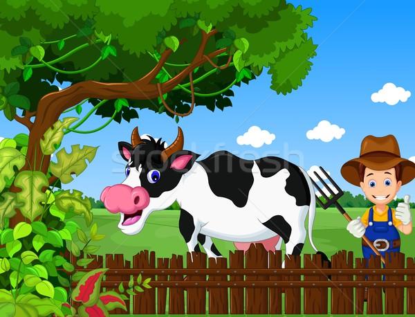 funny farm with cow cartoon and farmer life background Stock photo © jawa123