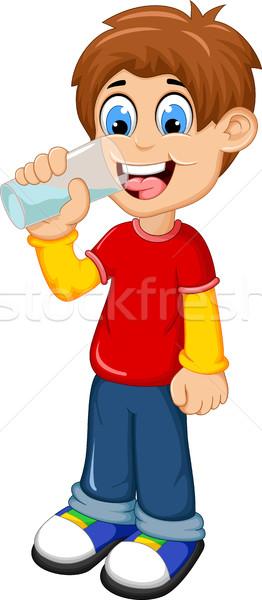 cute boy cartoon drinking water Stock photo © jawa123
