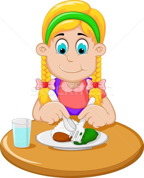 Cute девочку Cartoon завтрак женщину девушки Сток-фото © jawa123