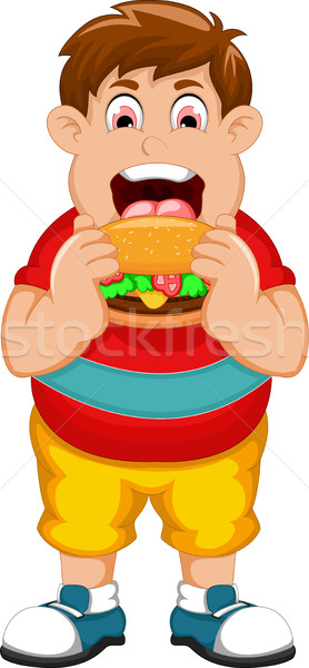 funny fat man cartoon eating burger Stock photo © jawa123