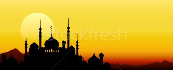 Ramadan maan silhouet bidden kaart poster Stockfoto © jawa123