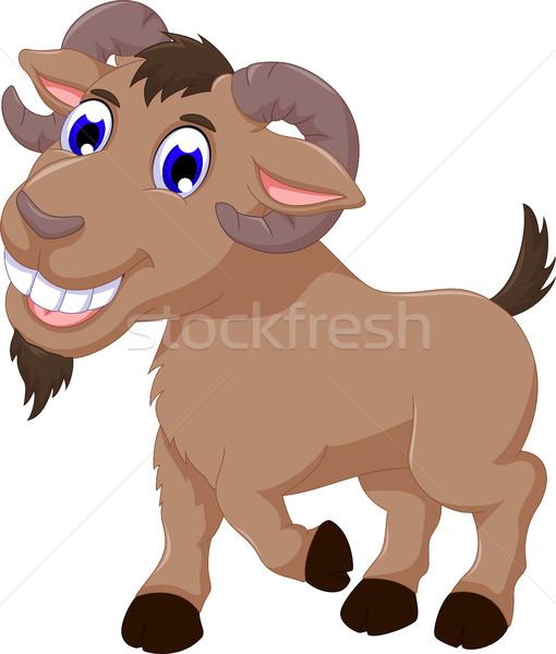 cute goat cartoon smiling look at camera Stock photo © jawa123