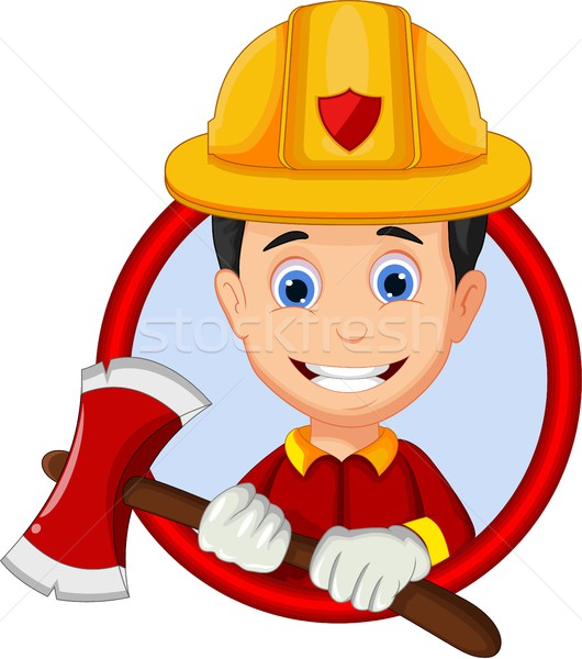 cute firefighters cartoon in frame Stock photo © jawa123