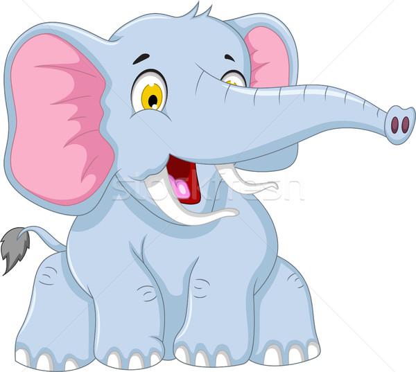 cute elephant cartoon posing Stock photo © jawa123