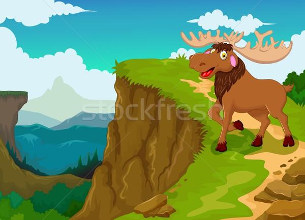 Grappig eland cartoon berg klif landschap Stockfoto © jawa123