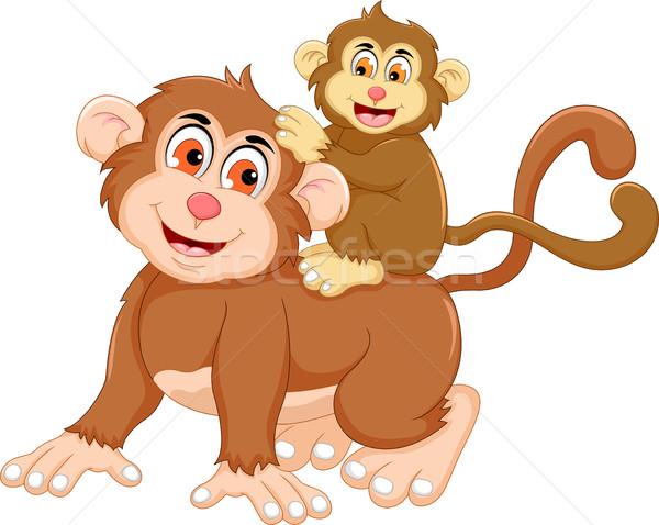 Engracado Macaco Desenho Animado Bebe Feliz Educacao
