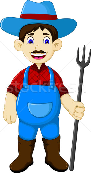 Funny masculina agricultor Cartoon rastrillo Foto stock © jawa123