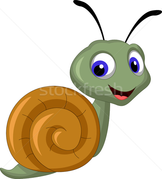 cute snail cartoon smiling Stock photo © jawa123