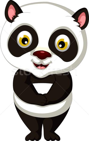 Sevimli panda karikatür poz siyah genç Stok fotoğraf © jawa123