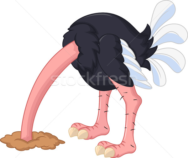 ostrich cartoon has buried a head in sand Stock photo © jawa123