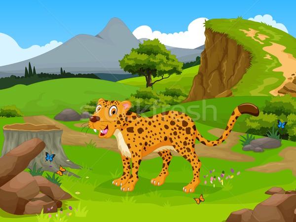 Vicces gepárd rajz dzsungel tájkép család Stock fotó © jawa123