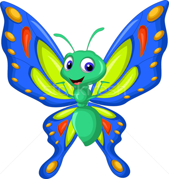 cute butterfly cartoon flying vector illustration © sujono ...