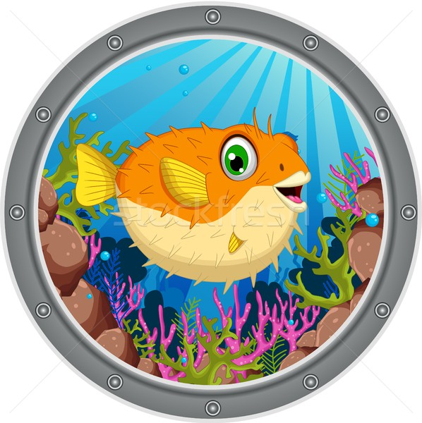 cute Blow fish cartoon in frame Stock photo © jawa123