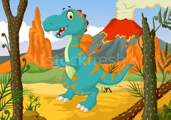 смешные динозавр Cartoon джунгли природы время Сток-фото © jawa123