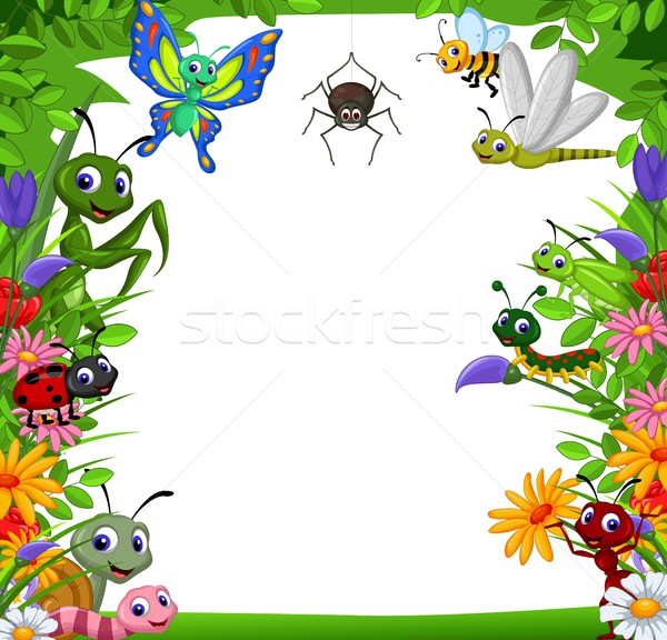 cute collection of insects in the flower garden Stock photo © jawa123