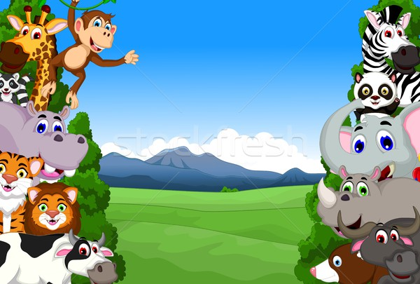 funny animal cartoon collection in the jungle Stock photo © jawa123