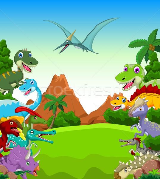 Dinosaur cartoon with landscape background Stock photo © jawa123