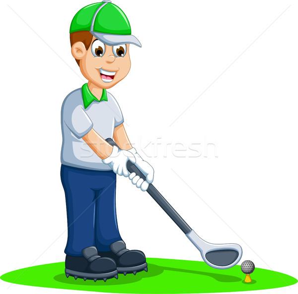 смешные мужчин Cartoon играет гольф человека Сток-фото © jawa123
