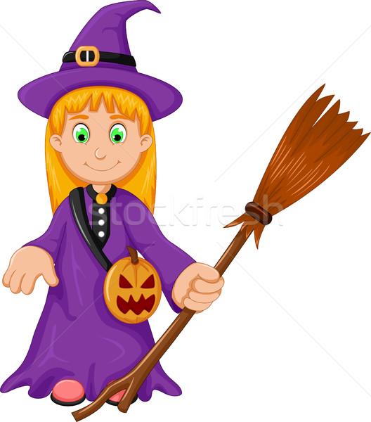 Bruja halloween Cartoon escoba calabaza bolsa Foto stock © jawa123