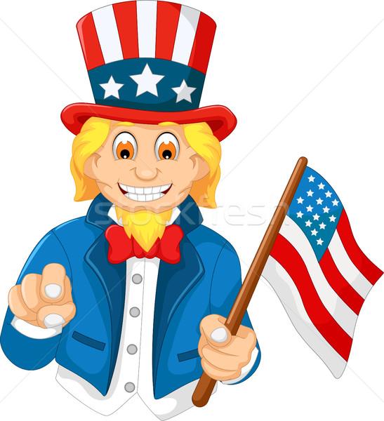 Vicces amerikai rajz tart amerikai zászló mosoly Stock fotó © jawa123