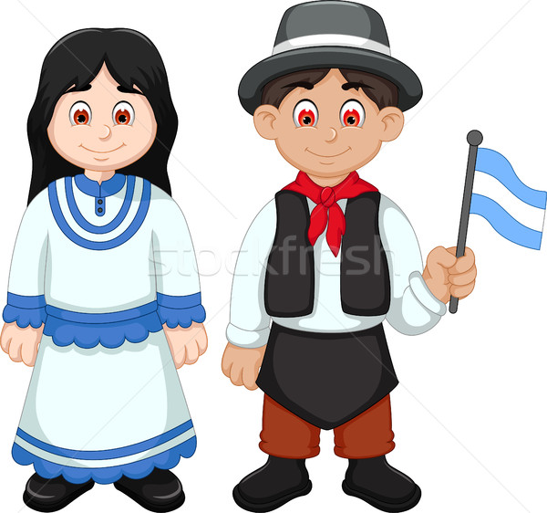 Aranyos pár Argentína rajz ruházat nő Stock fotó © jawa123