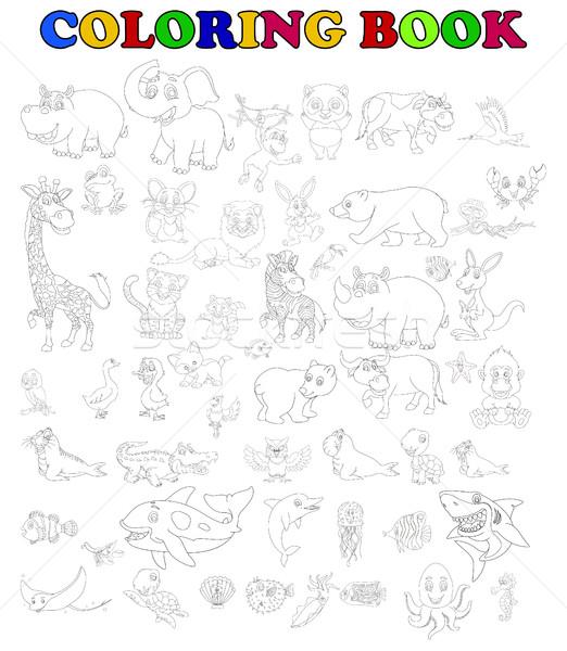 coloring book of big animal cartoon set Stock photo © jawa123