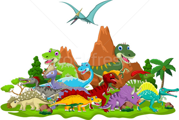 Dinosaur cartoon with landscape background Stock photo © jawa123