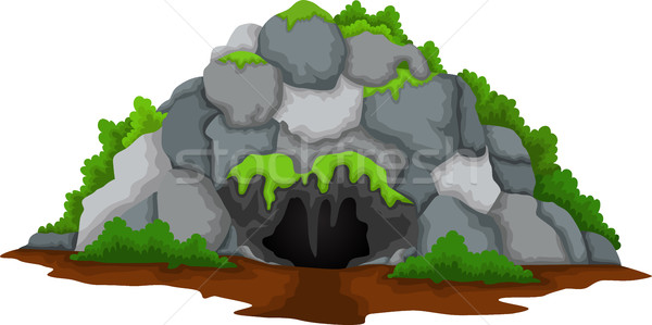 cave cartoon with forest landscape background Stock photo © jawa123