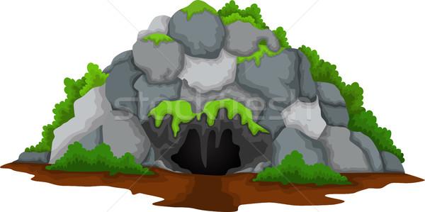 Barlang rajz erdő tájkép ház nap Stock fotó © jawa123