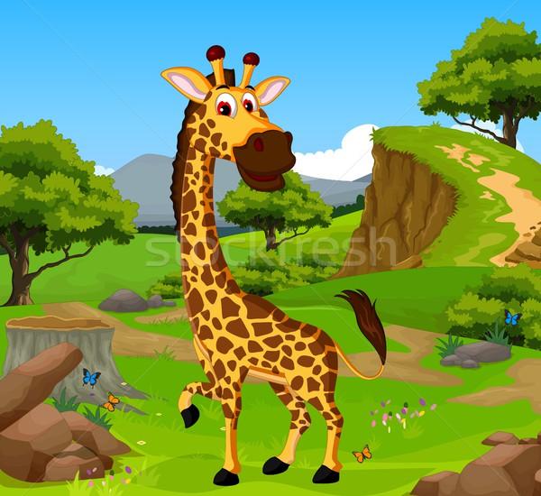 Vicces zsiráf rajz dzsungel tájkép baba Stock fotó © jawa123