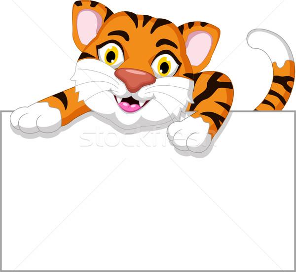 Cute tiger cartoon with blank sign Stock photo © jawa123