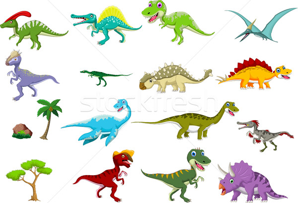 динозавр Cartoon набор животные смешные счастье Сток-фото © jawa123