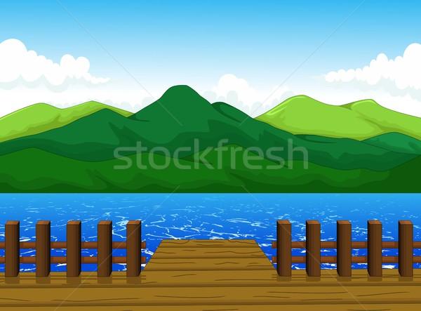 beautiful view of dock cartoon with mountain landscape background Stock photo © jawa123