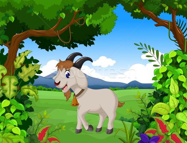 funny goat cartoon with landscape background Stock photo © jawa123