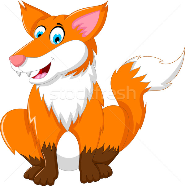 Сток-фото: Cute · Cartoon · Fox · сидят · улыбка · собака
