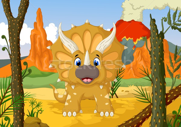 funny Triceratops cartoon with forest landscape background Stock photo © jawa123