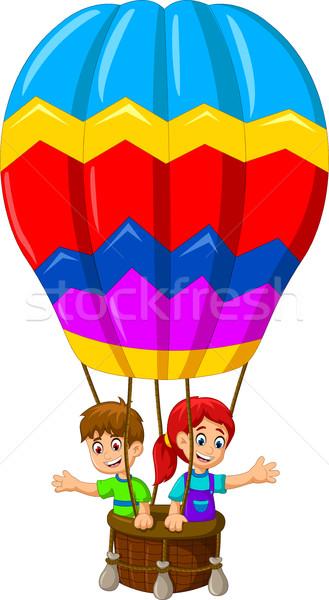 Funny zwei Kinder Karikatur unter Heißluftballon Stock foto © jawa123