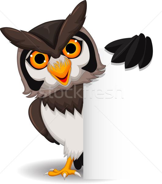 Cute owl cartoon holding blank sign Stock photo © jawa123