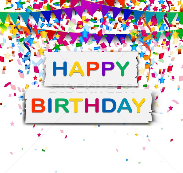 happy birthday with confetti background Stock photo © jawa123