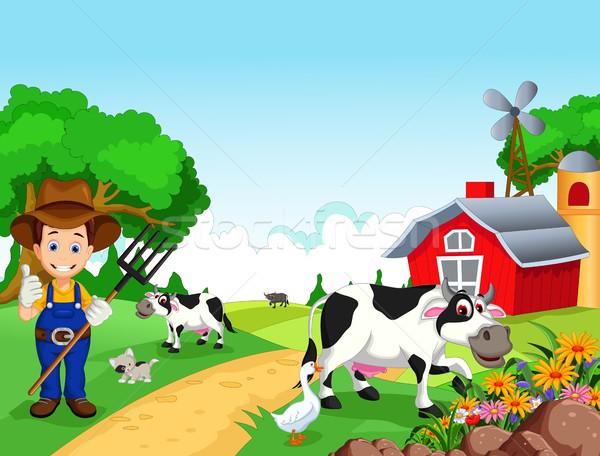 Farm background with farmer and animals Stock photo © jawa123