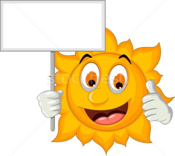 cute sun cartoon holding blank sign Stock photo © jawa123
