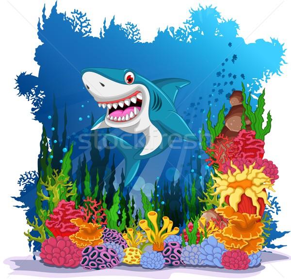 funny shark with sea life background Stock photo © jawa123