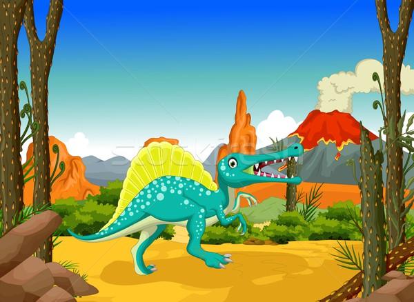 funny Dinosaur cartoon with forest landscape background Stock photo © jawa123