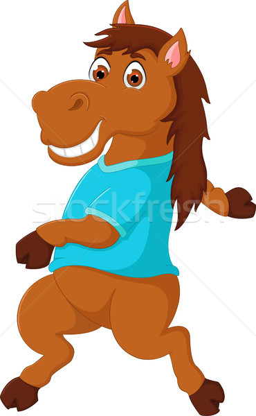 funny horse cartoon dancing with smile and waving Stock photo © jawa123