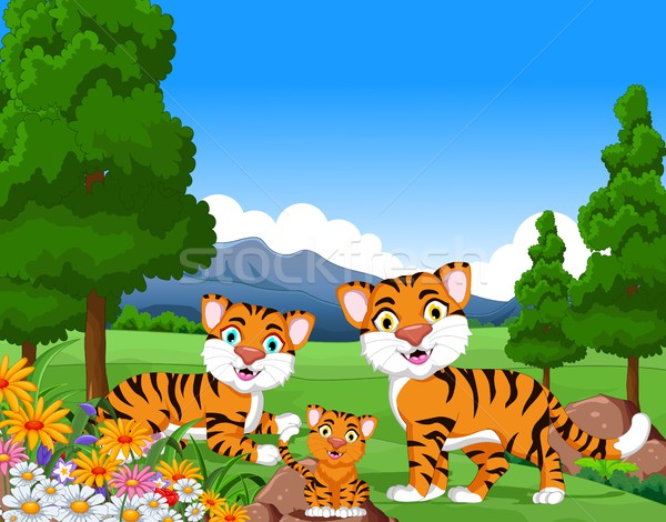 tiger cartoon family in the jungle Stock photo © jawa123