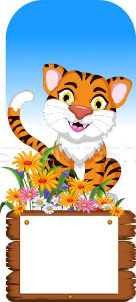 cute tiger cartoon with blank board Stock photo © jawa123
