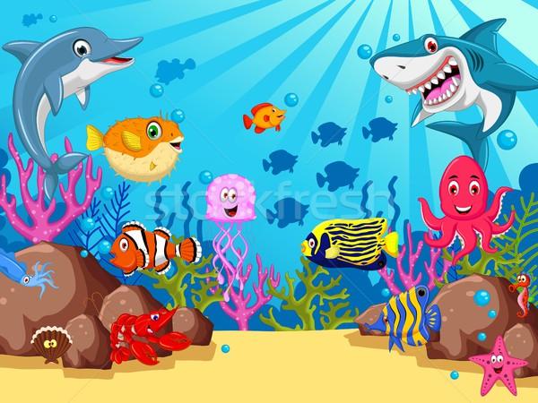 Divertente cartoon mare vita design pesce Foto d'archivio © jawa123
