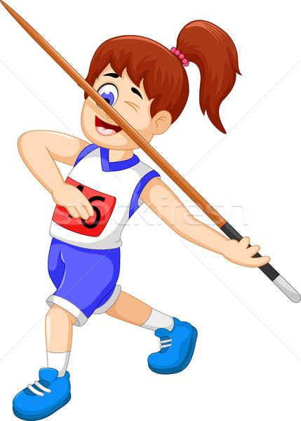 funny woman athlete throwing a javelin Stock photo © jawa123