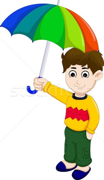 cute boy cartoon holding umbrella Stock photo © jawa123